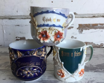 Papa  Think of Me  From a Friend  Remember Me - Souvenir Victorian Cups Mugs - Porcelain Sentimental Gifts
