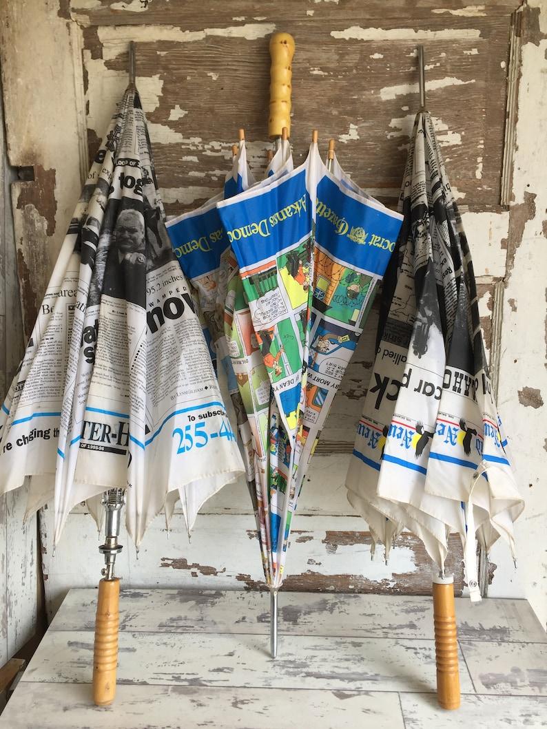 Vintage Newsprint Umbrella - Choice - West Virginia, Enid OK, Arkansas