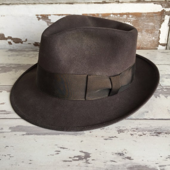 huge discount 006de 6ffaa ... reduced vintage hat and box hatbox royal stetson fedora indiana jones  dark brown 0eb75 11390