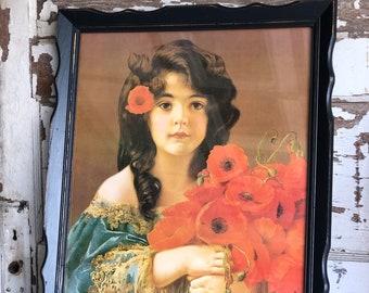 Vintage Print- Girl with Poppies -Germany 16 x 20 Black Framed Antique Portrait - Edwardian