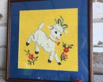 Vintage Needlepoint Crewel Sheep Lamb - Framed - Charming Nursery Art