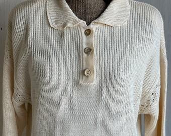 Vintage French Sweater - Fabrice Karel Paris 1990s Satin Ivory Shoulder Pad Henley Lacy Shoulder Viscose