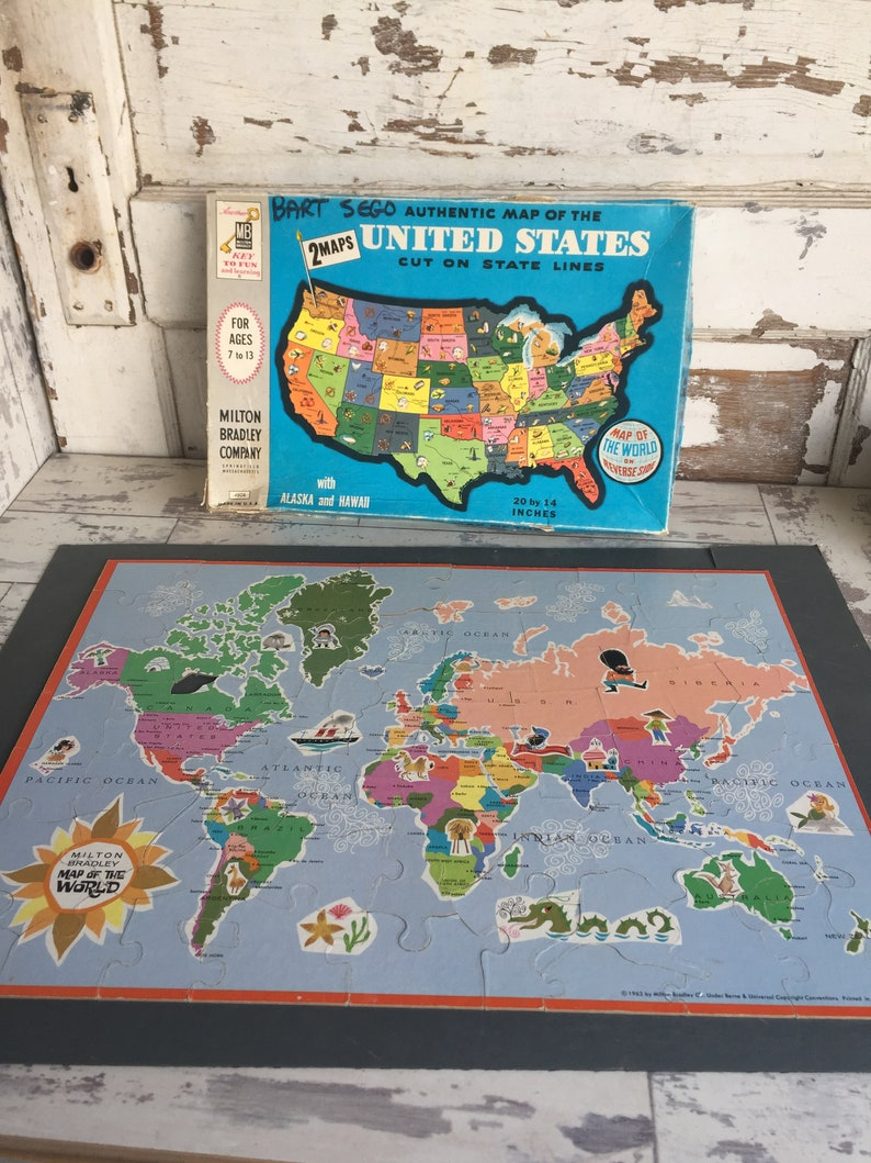United States and World Map Puzzle by Milton Bradley 1960s   Etsy