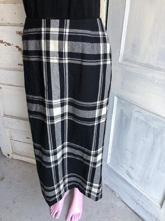 Vintage Skirt Plaid Wool Maxi Length - Size 8 Med… - image 9