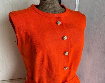 Vintage 1960s Sheath Dress - Orange Linen - Sleeveless New Old Stock - Rhinestone Buttons - Fully Lined