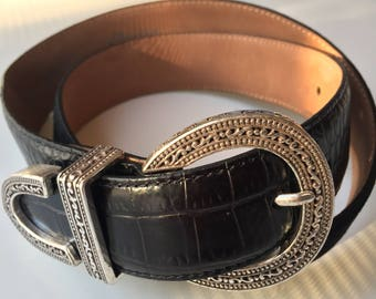 Vintage Brighton Leather Belt - Suede and Silver - 34