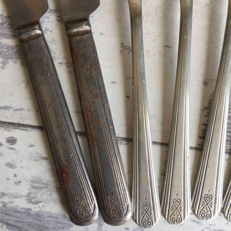 1920s Drexel Moderne Vintage Silverplate Antique Flatware 6 Forks 4 Knives c
