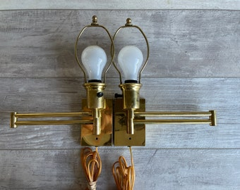 Vintage Brass Wall Lamps - Swing Arm -Pair with Shades -  Space Saving - 16 Inch Arms