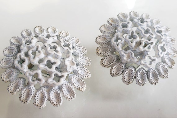 1950's 60's White Clip On Earrings, Metal Floral M