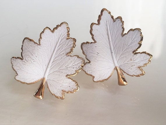 1950's-60's Clip On Earrings, White Maple Leaf, Me