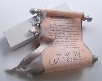 wedding vows fabric scroll anniversary gift with monogram wedding proposal or love letter scroll