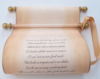 """Wedding vows scroll, wedding gift, anniversary keepsake, 8x19"""" long, made in USA, personalized with your own words only"""
