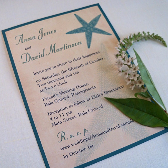 Starfish Wedding Invitation Destination Beach Wedding Teal
