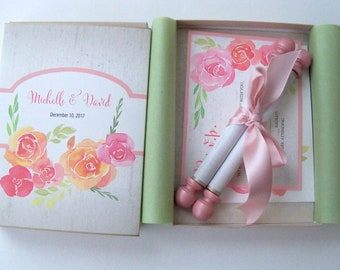 Boho wedding invitation suite with paper scroll and box, 25 suites