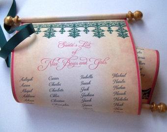 Santa List Nice Boys and Girls with 132 names, Christmas decoration, custom Santa scroll, Nice List, with storage tube