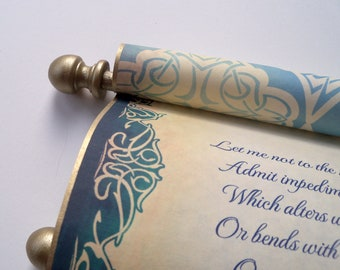 """Elegant scroll with brooch, aged gold & navy, wedding vows, secret message, 8x19"""" paper, blank or personalized with your own words only"""