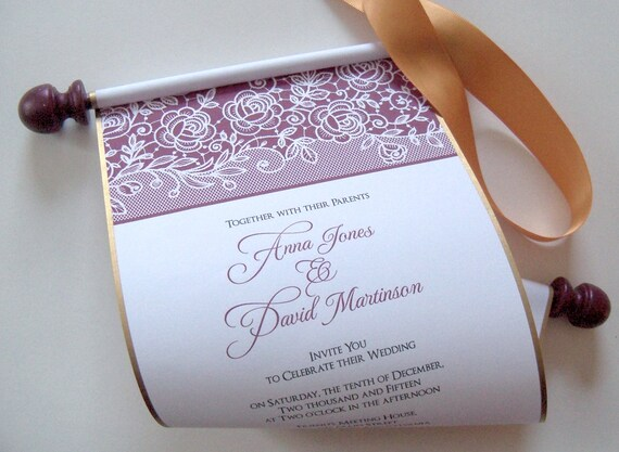 fall wedding invitation scrolls in gold and burgundy printed etsy