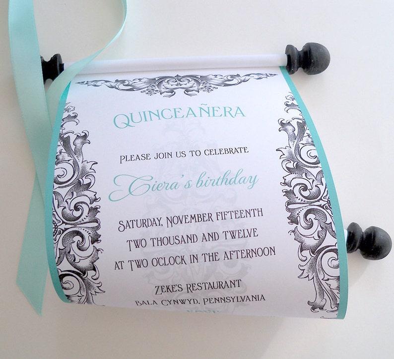 Quinceanera Invitations 15th birthday party invitations teen birthday party aqua and black invitations scroll invitations 10