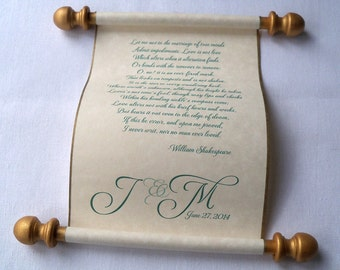 Personalized scroll for wedding vows on parchment paper, with box