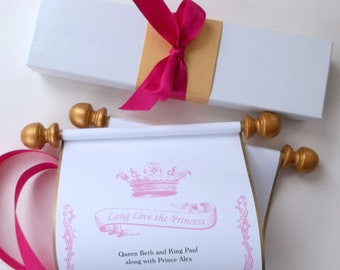 Princess birthday invitation scroll with royal crown, Long Live the Princess banner, in fuchsia and gold, with presentation box, set of 10