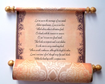 Brown and gold paper scroll, 8x18 inch aged parchment paper, personalized with your own words only