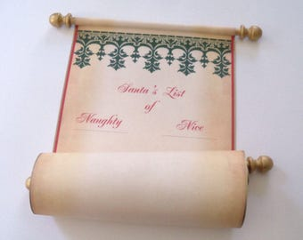 Santa's List Naughty and Nice on a scroll, blank scroll for hand written list, Nordic design Xmas scroll with red tube & snowflake wax seal