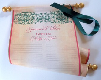 Christmas wedding guest scroll, wedding guest book alternative, guest list scroll, rustic guest book with damask, 8x17 inch paper