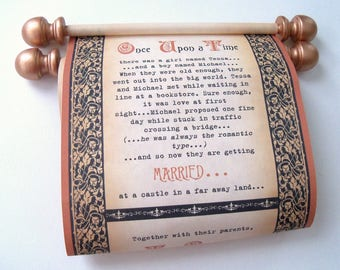 Medieval themed wedding invitation scrolls in copper and black, for a Once upon a time fairytale wedding, set of 25