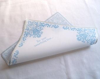 For your something blue wedding handkerchief, damask hankerchief, light blue, wedding gift for bride, bridal hankie, non-custom favor