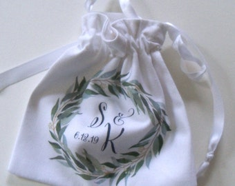 Personalized Ring Bag with greenery wreath and custom monogram, for Wedding, Elopement, Proposal - Rustic cotton ring pouch