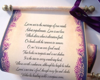 """Elegant scroll with brooch, aged gold & eggplant, wedding vow, anniversary gift, 8x18"""" paper, blank or personalized with your own words only"""