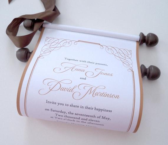 elegant wedding invitation scrolls gold and brown wedding etsy