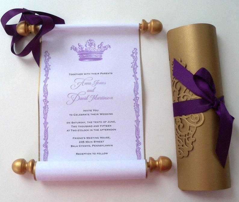 Scroll Wedding Invitations.Classic Scroll Wedding Invitations With Folder Royal Crown Scroll Invites Purple Wedding Invitation Traditional Wedding Set Of 10