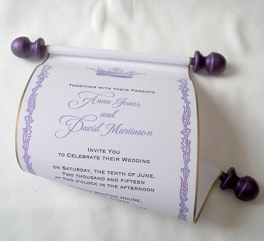 Princess wedding invitations royal crown invitation ...