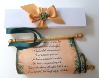 Emerald green and gold scroll, box and brooch, 8x18 inch parchment paper, blank or customized, personalized gift, anniversary, wedding vow