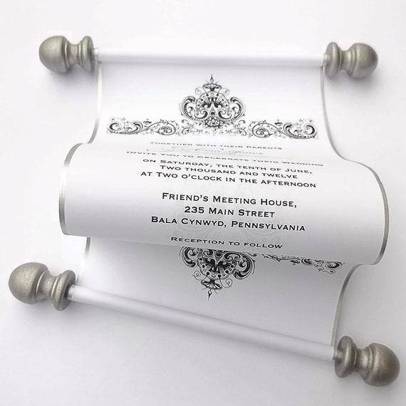 elegant wedding invitation scrolls traditional black and etsy