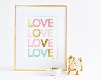 Love Sign Art Print, Pink Gold & Mint Print Digital Printable Instant Download Home Decor Wall Artwork, Nursery Decor Wall Art,
