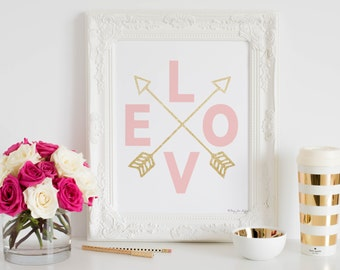 Pink Gold Nursery Decor Art Print, Pink Gold Arrows, Baby Shower Gift, Baby Shower Decor, Instant Download, Best Nursery Decor Wall Art Home