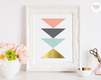 Wall Art Abstract Geometric Printable, Home Decor Artwork Nursery Office Modern Minimalist Scandinavian Triangle Digital Printable Gold Pink