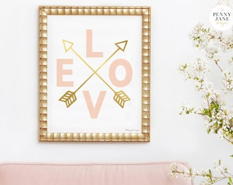 Love Art Print, Pink Gold Art, Pink Gold Arrows, Baby Shower Gift, Baby Shower Decor Instant Download Pink Gold Nursery Wall Art Home Decor