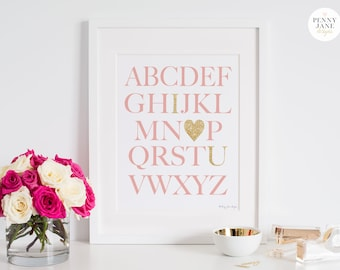 Nursery Decor, Pink Gold Alphabet Print, Instant Download Digital Art Baby Girl ABC Poster Sign Nursery Home Decor Wall Art Baby Shower Gift