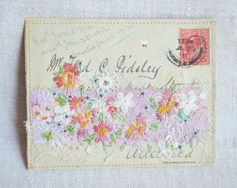 ARTWORK original embellished 1911 British envelope - hand embroidered flowers