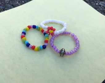 Rainbow set of Beaded Flower Rings