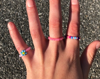 Pink beaded ring set of 3