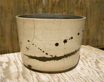 6 1/2 x 4 3/4  Succulent  Planter with drainage hole /Contemporary Raku / One-of-a-kind/  14 x