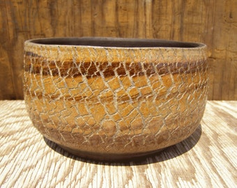 6 1/2 x 3  1/2 Succulent planter with drainage hole/ Brown  and Red pottery planter/ One-of-a-kind /14-y