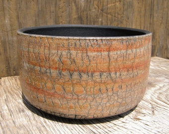 6 x 3  1/2 Succulent planter with drainage hole/ Brown  and Red pottery planter/ One-of-a-kind /14-v