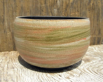 7 x 4 1/2  inch Succulent Planter with Drainage hole / Contemporary Raku/ One of a kind/ 14-t
