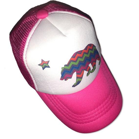 6f710051c California Bear Chevron Stripe Hot Pink Infant/Kids Trucker Hat