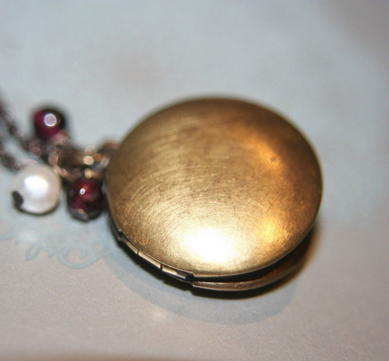 Vintage Style Simple and Dainty Organic Round Brass Locket Necklace 16 inches